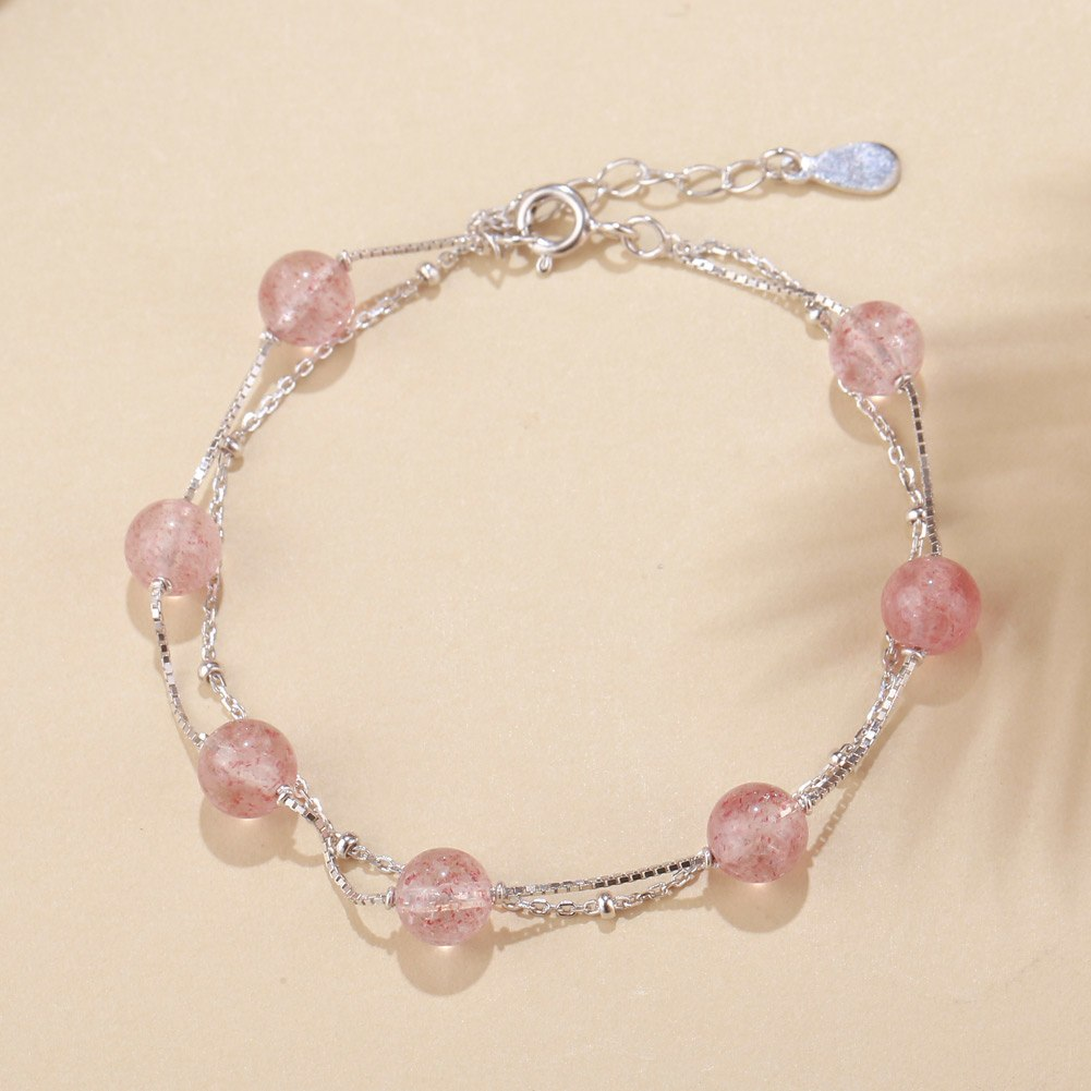 925 Sterling Silver Strawberry Crystal Chain Link Bracelets Bangles for Woman Two Layer Round Ball Wrap Bracelets
