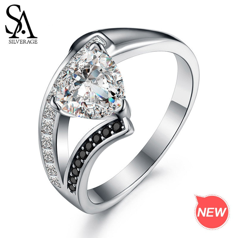 Authentic 925 Sterling Silver AAA Zirconia Rings For Women Silver 925 Jewelry Gemstone Engagement Ring Brand