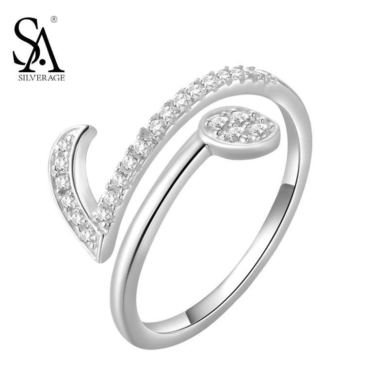 Authentic 925 Sterling Silver Jewelry Note Symbols Rings for Women New Original Design Party Rings Fine Jewelry