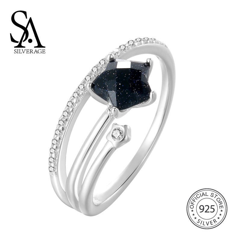 Real 925 Sterling Silver Wedding Rings Black Gemstone Engagement Ring For Woman Silver 925 Jewelry Bridal Sets