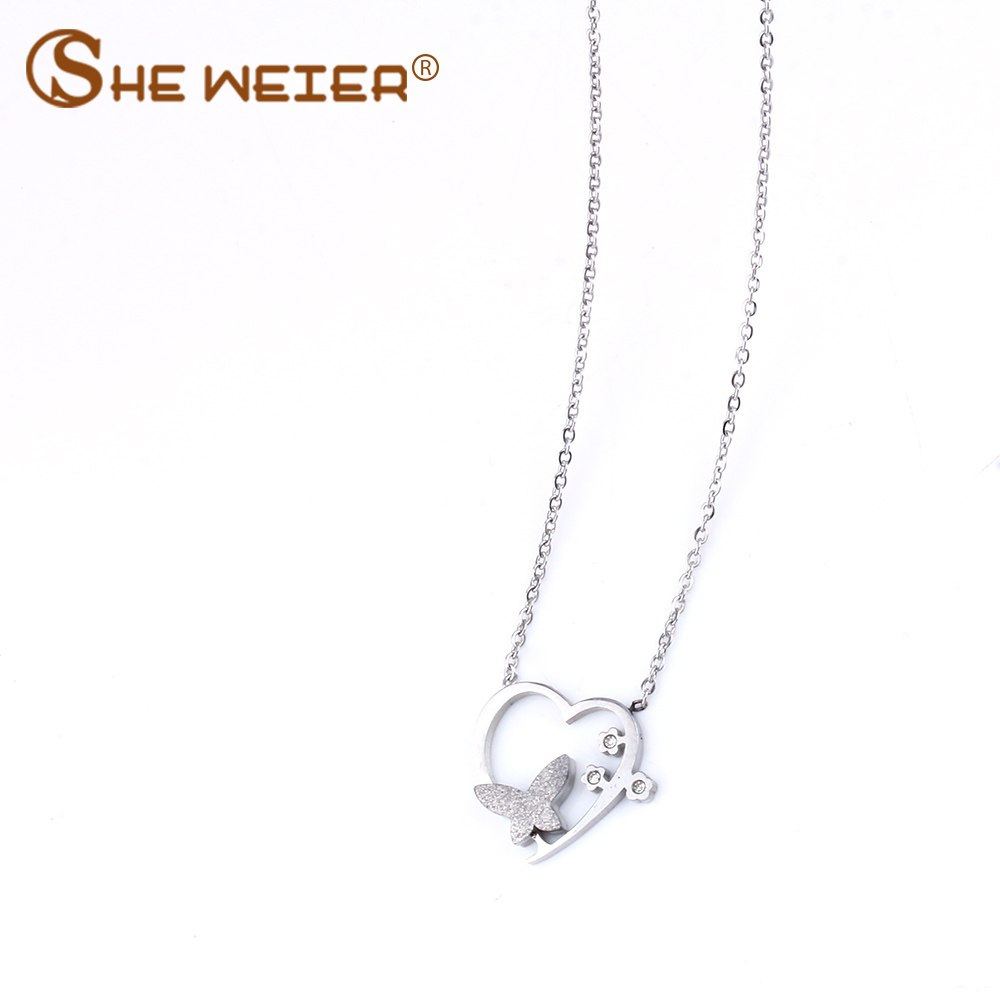 Heart Necklace For Women Stainless Steel Necklace Pendants Jewelry Chocker Bijoux Femme Collares Gift for girl