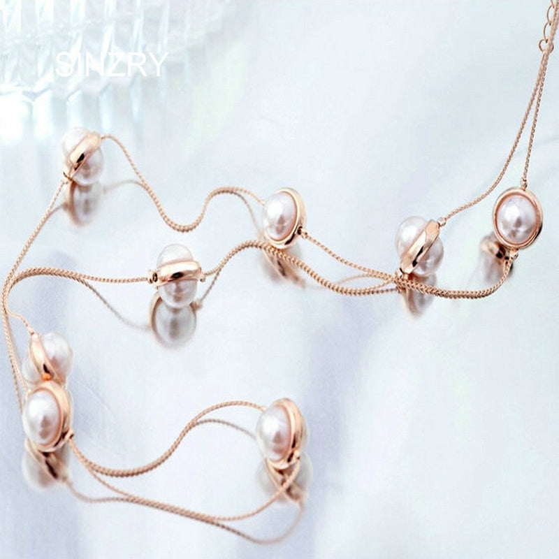Brand new Long Jewelry Rose gold color Simulated pearl long Necklaces women Elegant winter sweater pearl jewelry necklace