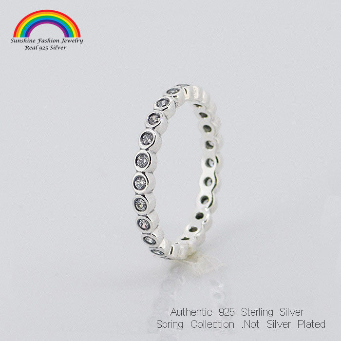 SMALL ROUND ETERNITY SILVER RINGS with CZ Stones 925 Sterling Silver Ring Jewelry Rings For Women Jewelry Accessories Fashion