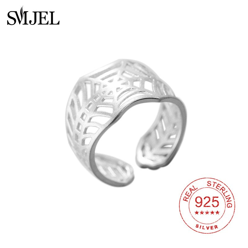 925 Sterling Sliver Big Spider Web Rings For Women Vintage Spiderman Spider Web Rings Silver Jewelry