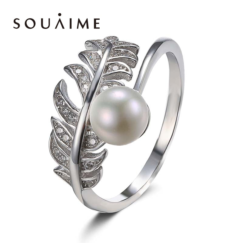 925 Sterling Silver Jewelry Feather Ring Natural Pearl White 6.5MM Girls Fine Jewelry