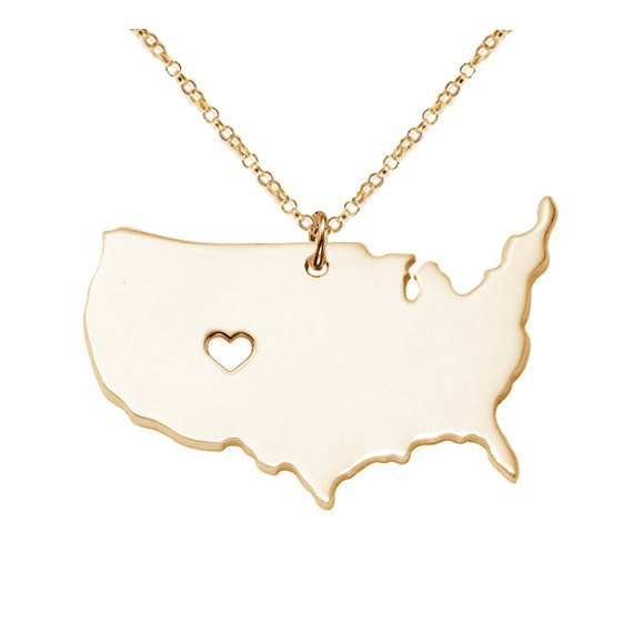 Large Necklace,Rose Gold Color America Map Pendant,Personalized USA State Necklace ,Collar Chain Necklace With Heart