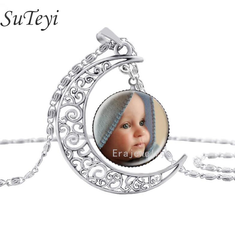 SUTEYI  Newest Personalized Photo Pendants Custom silver moon Necklace Photo of Your Baby Child lovely Loved One Gift