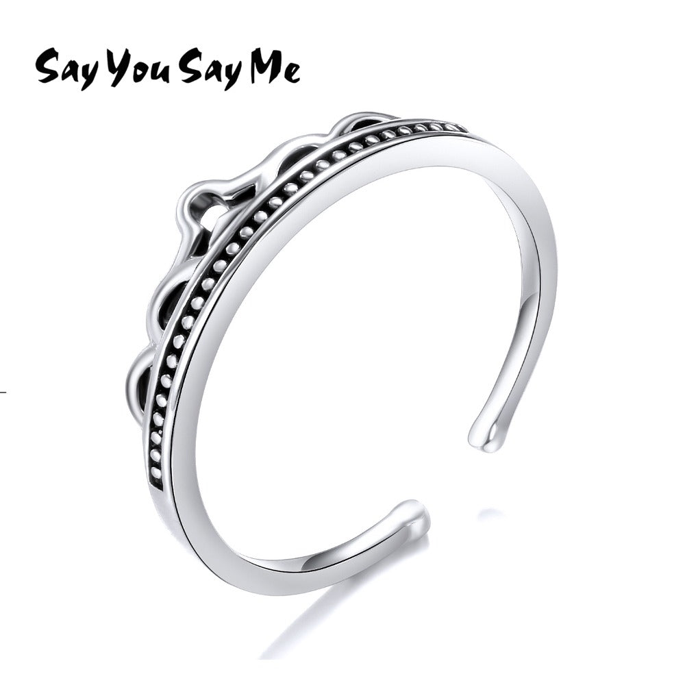 925 Sterling Silver Crown Rings Wedding&Engagement Wholesale Retro Cuff Rings Silver 2018 New Arrival Best Gift