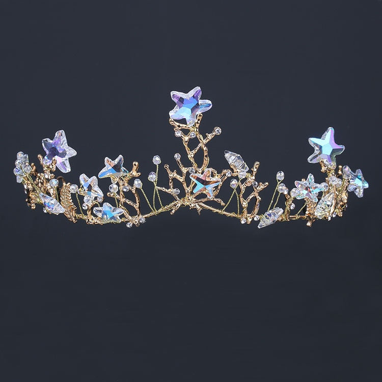 Shining starfish Wedding Tiara Bride Hair Ornaments For Women Prom Hair Jewelry Accessories Gold Vine Chaplet Bridal Crown