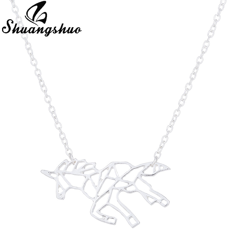 Shuangshuo Ethnic Origami Unicorn Necklace Choker Horse Necklace Women Necklaces & Pendants Animal Necklace Silver Jewelry colar