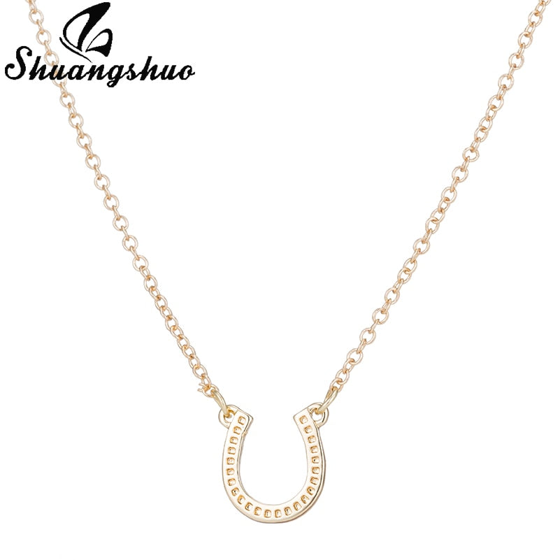 Lucky Silver Horseshoe Necklace Women Horse Necklace Choker Animal Necklaces & Pendants Paw Necklace colar