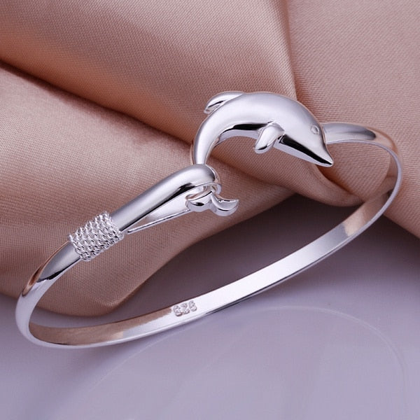 Silver plated exquisite luxury gorgeous fashion Dolphins bracelet charm jewelry women lady birthd gift B178