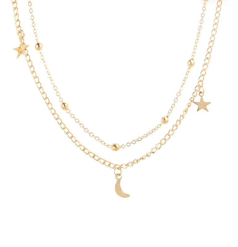 Simple Boho Gold Silver Color Star Moon Bead Chockers Necklace For Wom