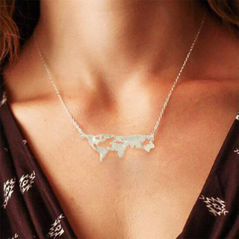 Simple Creative Salable Golden/Silver/Lead Black World Map Pendant Choker Necklaces Exaggeration