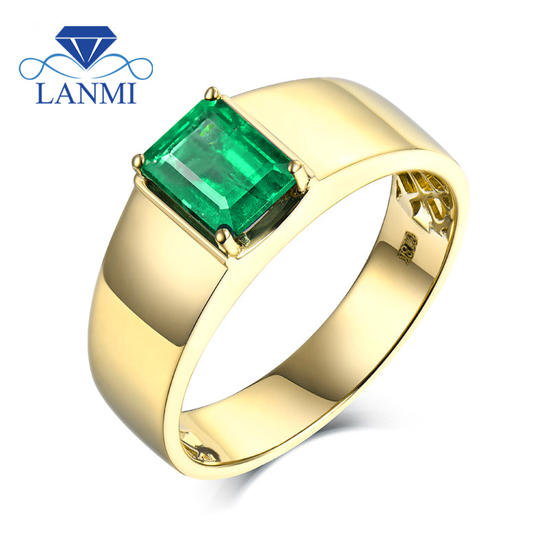 Simple Design Natural Colombia Emerald Mens Ring without Diamond for Husband Fine Jewelry Wedding Gift