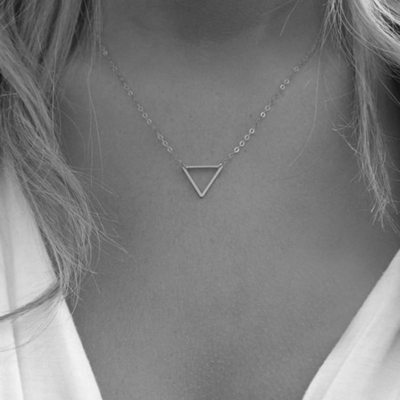 Simple Gold Silver Chain Necklace Triangular Women Jewelry Short Necklaces & Pendants Party Birthd Gift