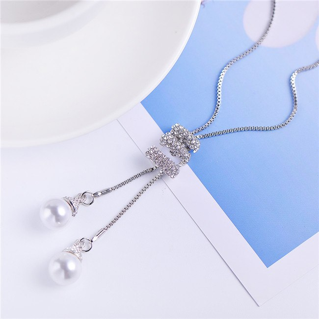 Simple Long Pearl Pendant Ladies Alloy Rose Gold And Silver Long Necklace Pendant Wild Rhinestone Tassel Gift Necklace