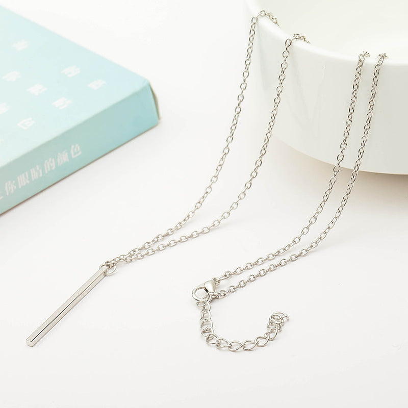 Simple Short Stick Metallic Pendant Silver Golden Black Necklace for Women Around 62 cm