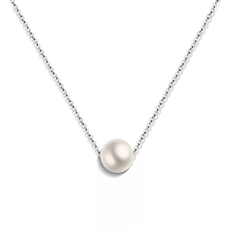 Simple Single 12mm High Simulated Pearl Pendant Necklace Rose Gold Color Fine Shin Clavicle Chain for Women Fashion Jewelry