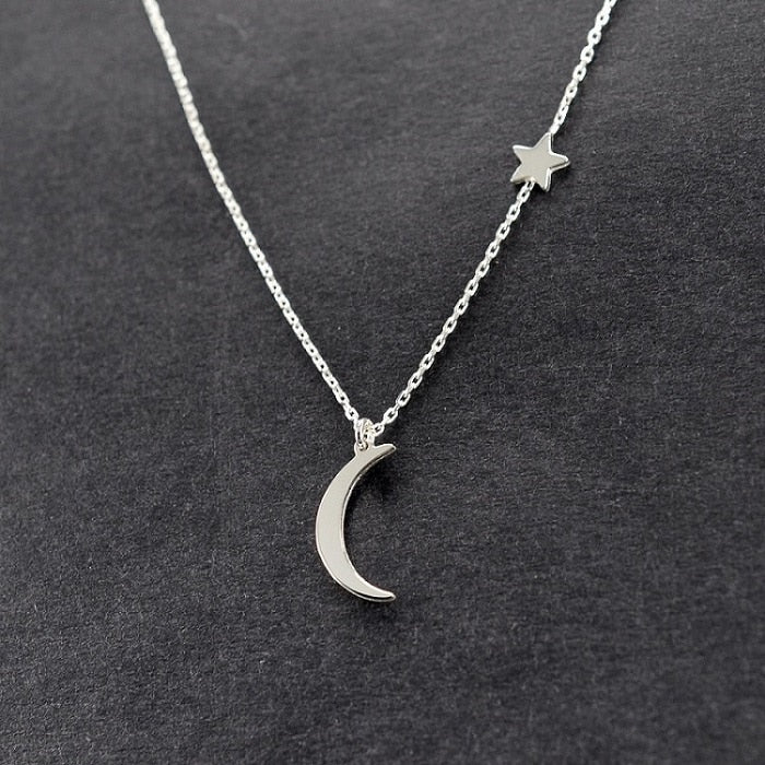 Simple Star Moon Necklace for Women gold Silver Chain Moon Smalll Choker Necklace Pendant Bohemian Necklace Jewelry