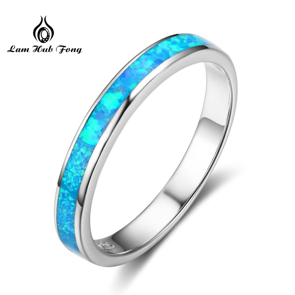Simple Style Blue Fire Opal Finger Rings For Women Solid 925 Sterling Silver Ring Fine Jewelry Hot Sale Wholesale(Lam Hub Fong)