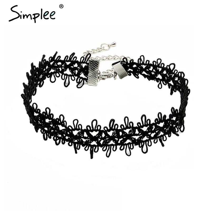 Hollow out lace black choker women clothing accessories Short punk vintage chain necklace Flower fine jewelry necklace