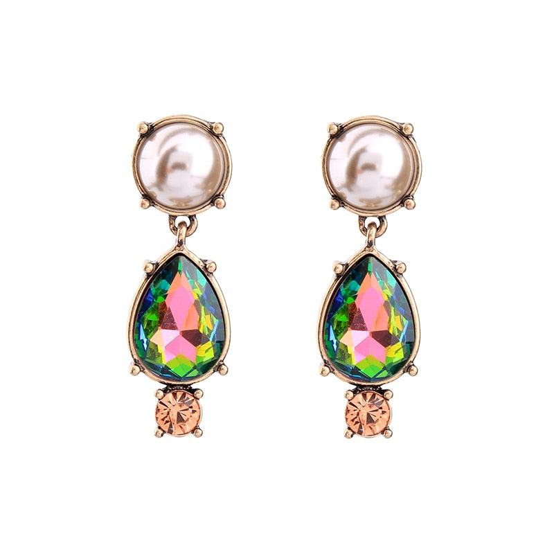 Simulated Pearl Colorful Water-drop Hanging Earrings 2020 Women Party Fashion Jewelry Online Shopping