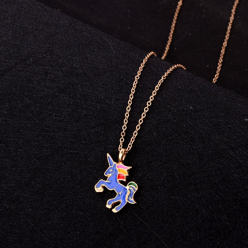 Necklace Anime Jewelry Gold Silver Chain Fairy Tale Unicorn Pendant Simple Lovely Horse Necklace For Women Children Gift