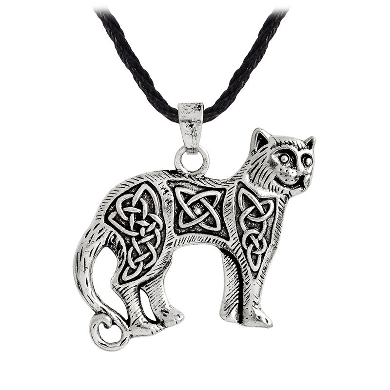 Slavic Necklace Retro Ancient silver gold Animal Keitel Cat Pendant Necklace For Men Leather Chain Norse Viking Jewelry Gift