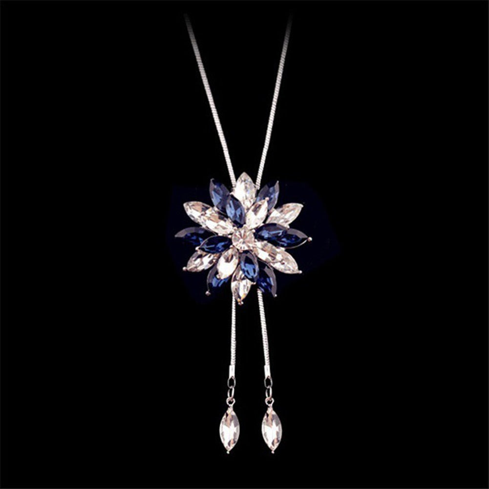 Snowflake Long Necklace Sweater Chain Fashion Fine Metal Chain Crystal Rhinestone Flower Pendant Necklace