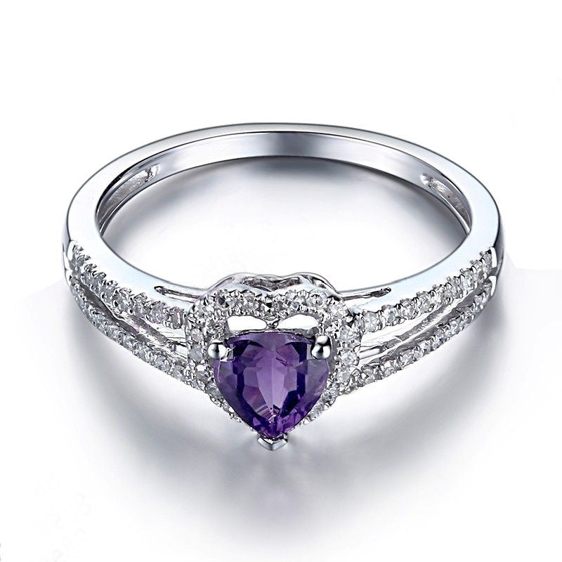 Solid 10K White Gold 0.5ct Purple Flawless Genuine Amethyst Ring For Women Engagement Wedding Gift Party Trendy Fine Jewelry
