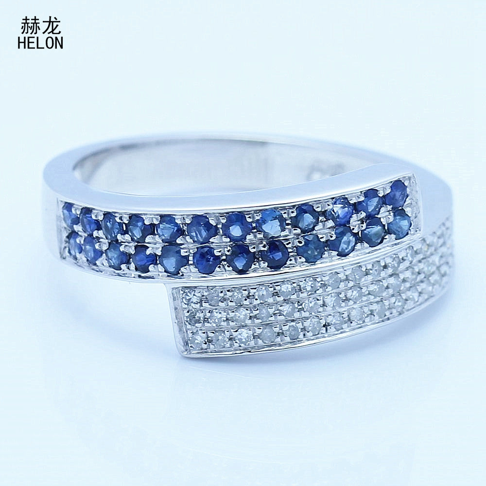 Solid 10K White Gold Pave Setting Anniversalry Natural Diamond & sapphire Engagement Fine Band Gemstone Jewelry Women Ring