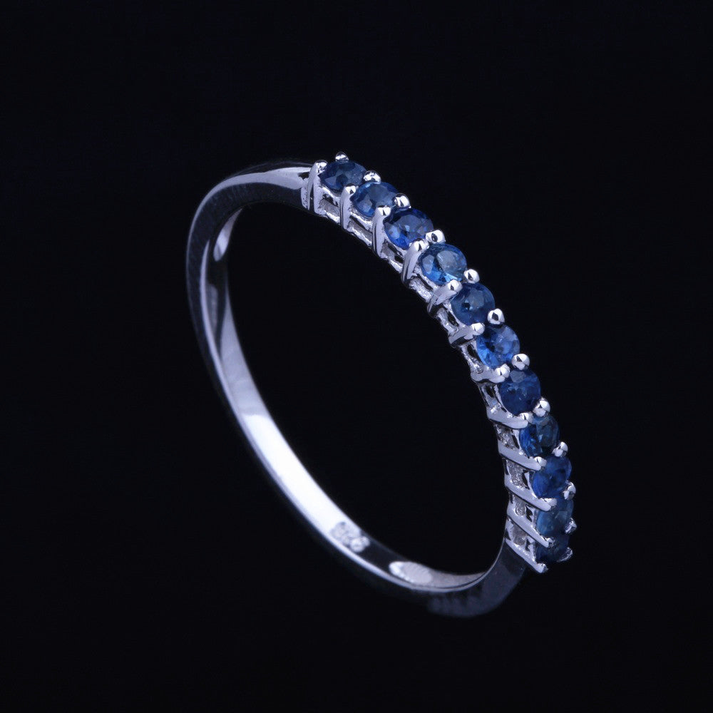 Solid 14K White Gold Certified Round 0.4 Carat Sapphires Fine Ring Gemstone Engagement Band Wedding Anniversary Women Jewelry