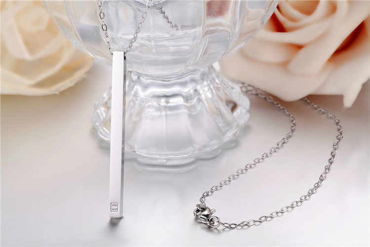 Stainless Steel Long Necklace Pendant For Women Rose Gold Gold Silver CZ Crystal Simple Female Jewelry Necklaces Geometric 2020