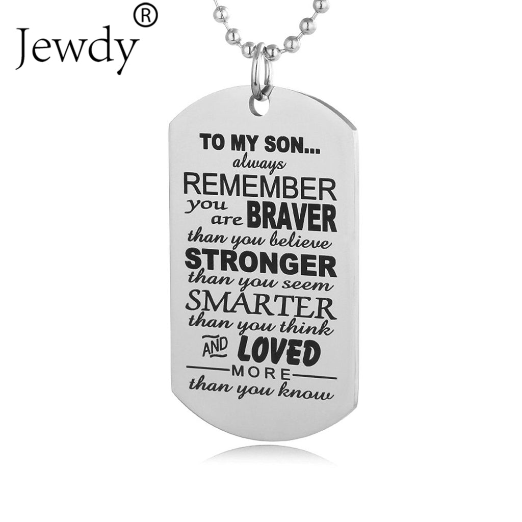Stainless Steel Mom Dad Son Tag Engraved Pendant Necklace Silver Mother Father Kids Love Necklace Simple Fashion Family Jewelry