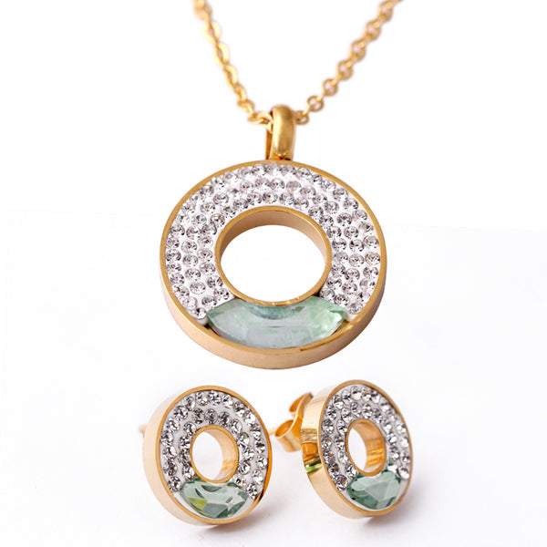 Stainless steel Pendant Necklace Earrings Jewelry Wholesale New Gold-Color with Crystal Rhinestone Bridal Jewelry Sets