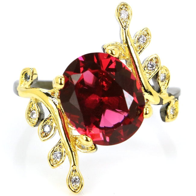 Sublime Antique Pink Raspberry Rhodolite Garnet CZ Woman's Black Gold 925 Silver Ring 25x20mm