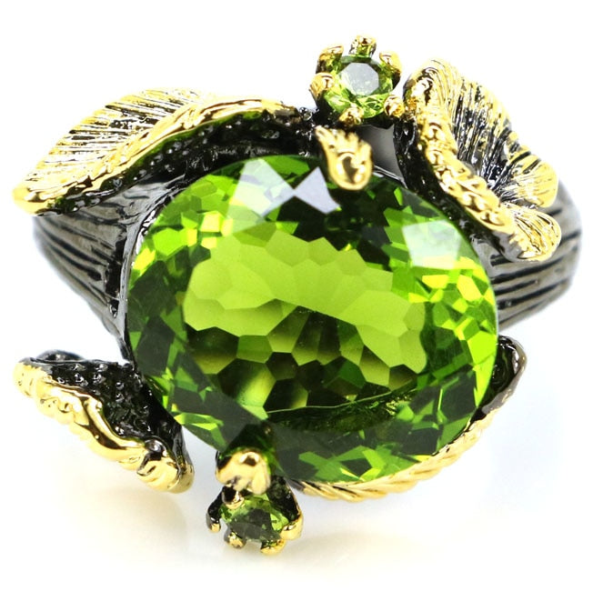 Sublime Antique Vintage Green Peridot Ladies Gift Black Gold 925 Silver Ring 21x20mm