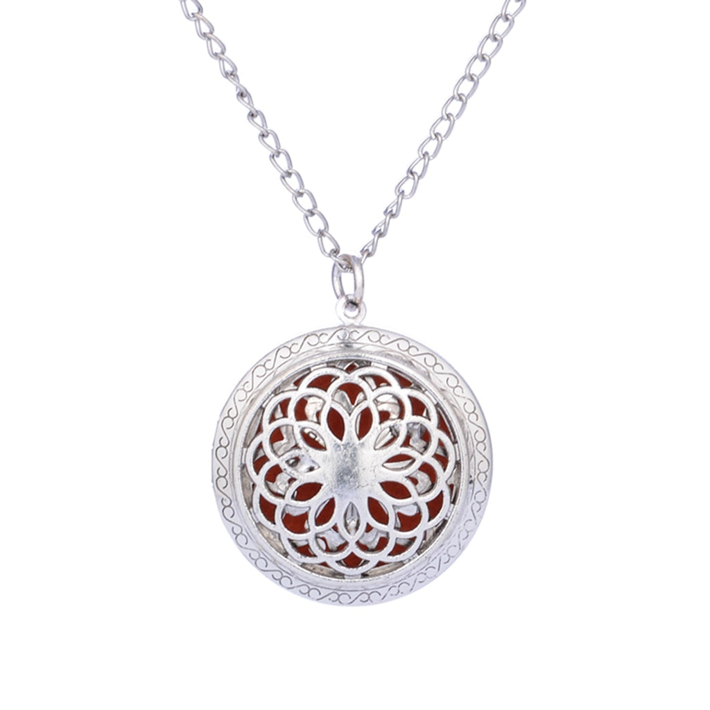 Summer Aroma Diffuser Necklace Open Vintage Silver Lockets Pendant Perfume Essential Oil Aromatherapy Locket Necklace With Pads