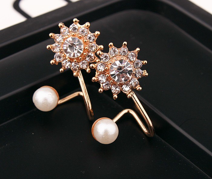 Sweet 3 colors Rose Gold rhinestone simulated pearl snowflake earrings for women trendy earring bijoux jewelry