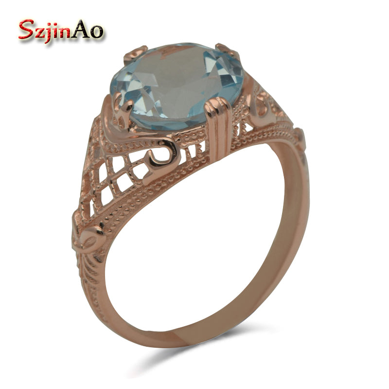 Exclusive Custom Western-style Delicate Hollow Out Roses Tianran Aquamarine 925 Sterling Silver Rings