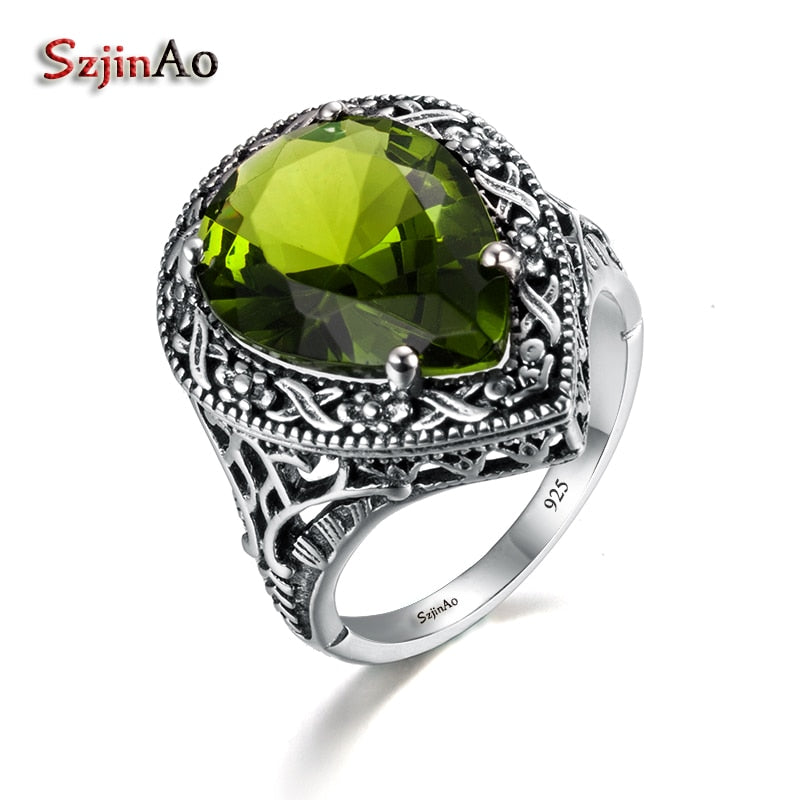 Love Rings For Women Antique Jewelry Green Olivine Women Authentic 925 Sterling Silver Ring Tibetan Handmade Ring