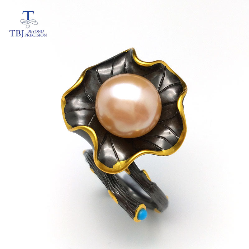 TBJ,Stylish Baroque natural pearl Ring and turquoise in 925 silver black & yellow gold color lotus leaf design for lady