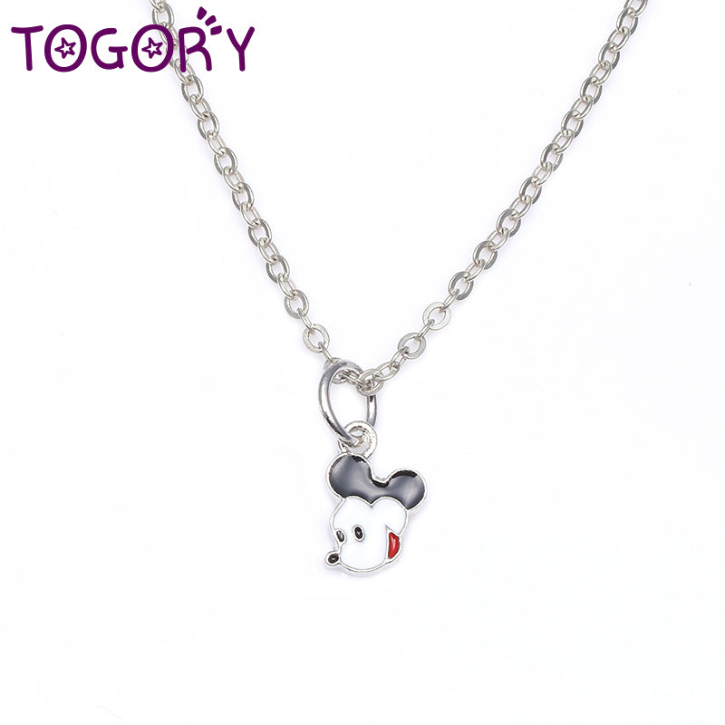 2020 New Arrival Simple Silver Plated Pan Lovely Mickey Minnie Pendant Necklace for Women Best Jewelry Gift