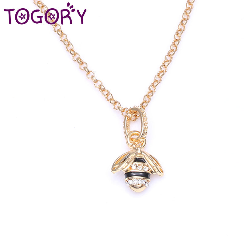 TOGORY Genuine Silver Plated Animal Cute Bees Dangle Pendant Pandora Necklaces for Women Fashion Jewelry Gift