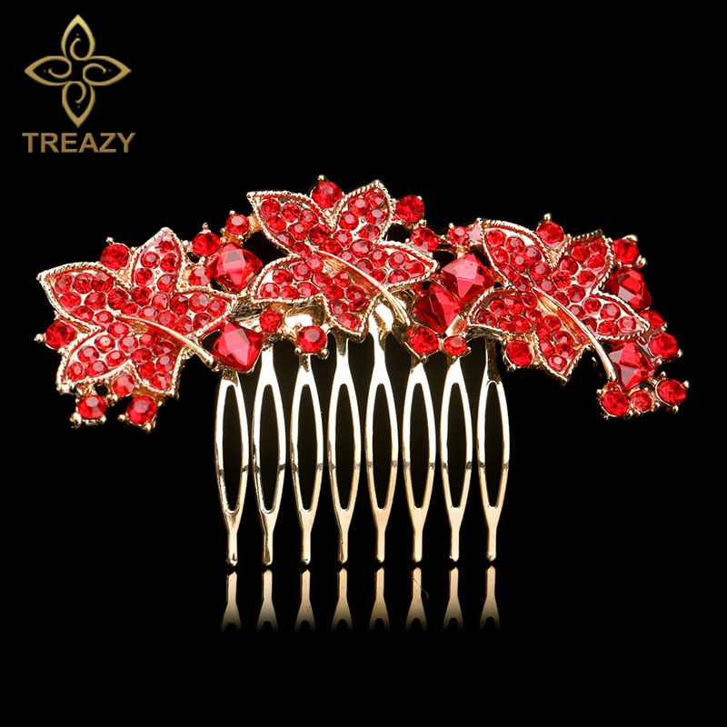 TREAZY Elegant Bridal Hair Combs Red Crystal Floral Animal Bride Wedding Hair Jewelry Party Prom Hair Accessories Women Headwear