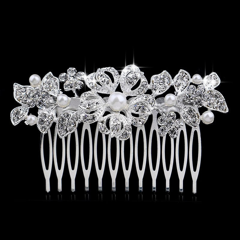 TREAZY Fashion Floral Bridal Wedding Hair Accessories Sparkling Pearl Crystal Brides Tiara Hair Combs Women Wedding Hair Jewelry