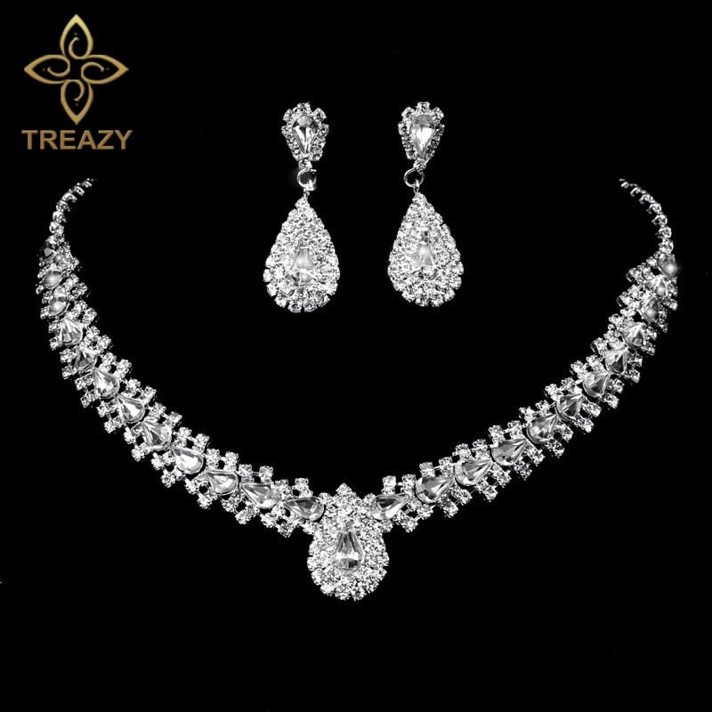 Sparkling Rhinestone Crystal Teardrop Design Wedding Bridal Jewelry Set Silver Plated Women Choker Necklace Earrings Set