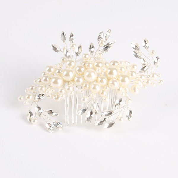 TUANMING 1PCS Fashion Crystal Pearl Wedding Hair Comb Hair Accessories For Bride HairPins Tiaras Plant Pattern Women Jewelry