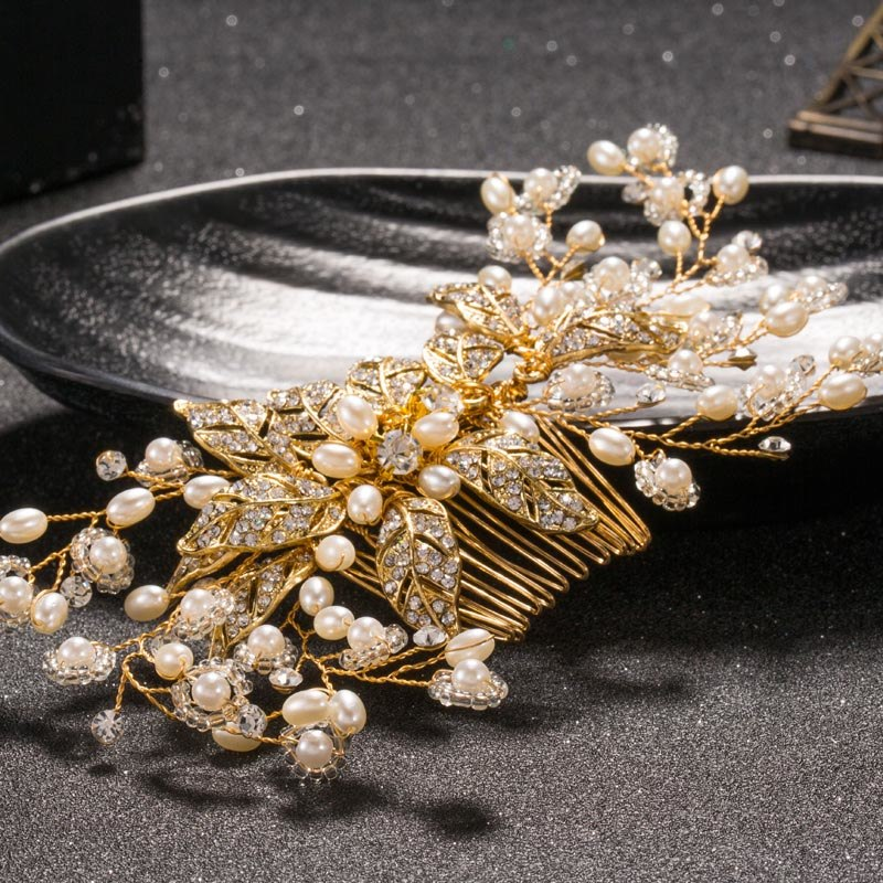 TUANMING Crystal Bride Hair Combs Handmade Pearl Rhinestone Hair Stick Gold Wedding Jewelry Bridal Starry Party Hair Accessories